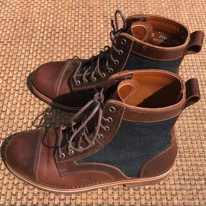 HELM Brown Leather Denim Boots Lace Up 9